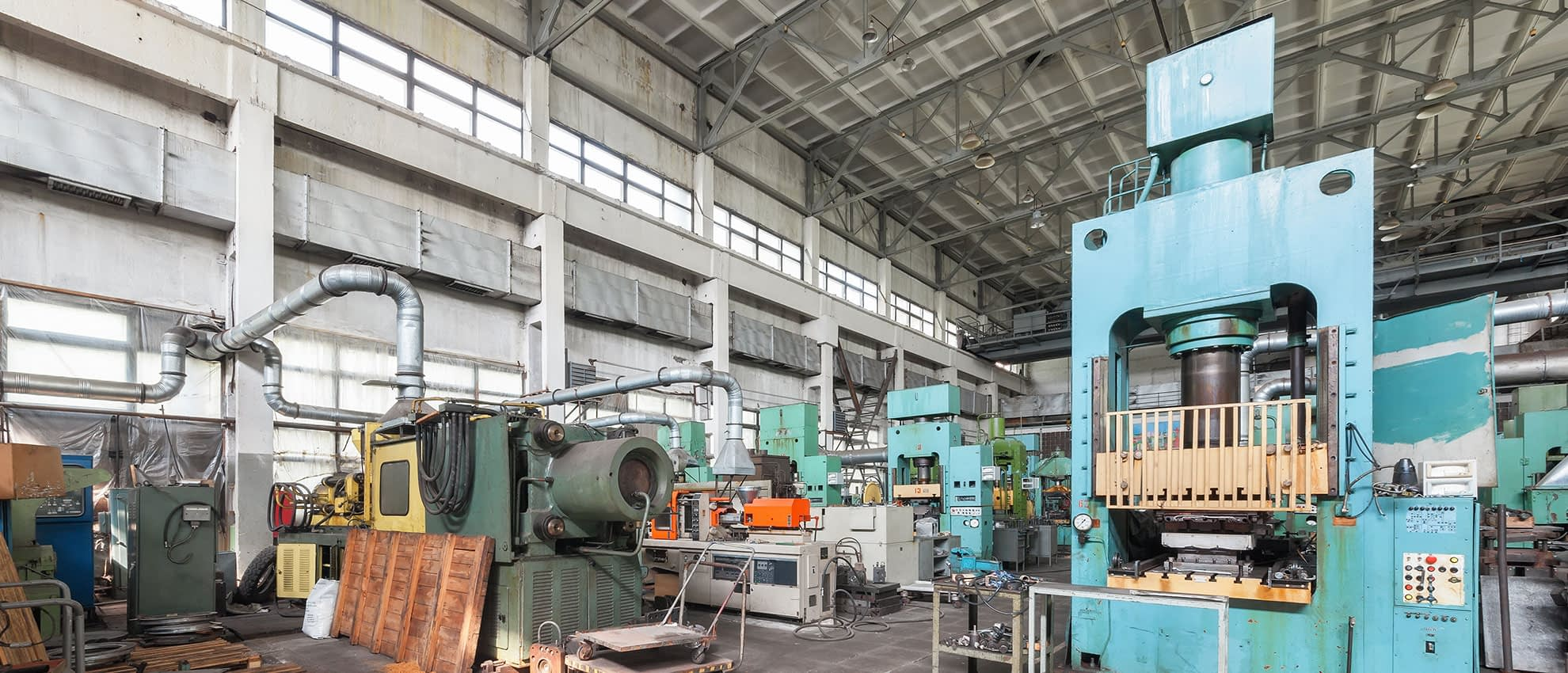A variety of machines in the factory