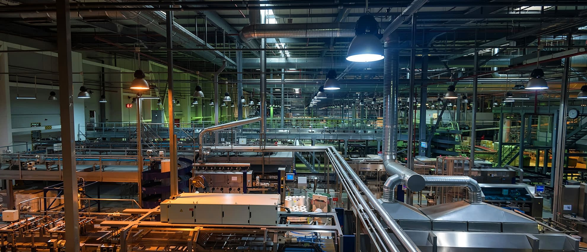Industrial interior of  factory with tubes