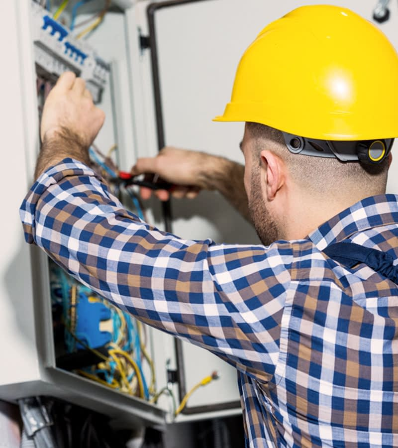 Electrician working repair installation